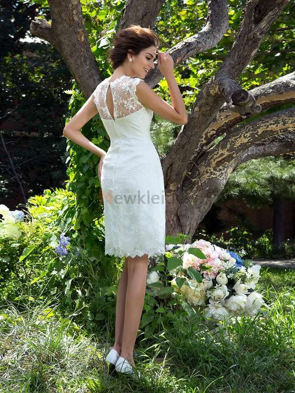 Ewiges Normale Taille A-Line Mini Brautkleid mit Applike